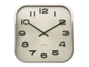 "12"" Wall Clock Embossed Numbers Polished Steel Frame"